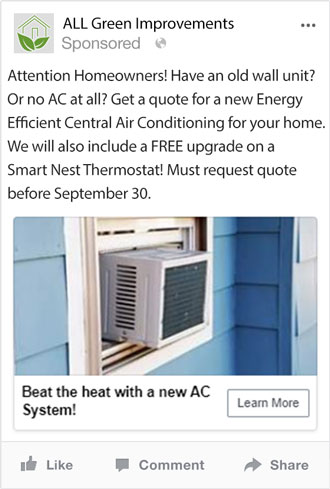 Facebook and Instagram Marketing for Home Improvement Company - Air Conditioning
